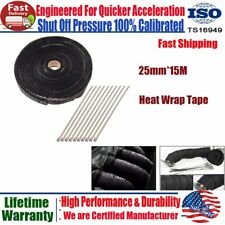"1""x 50FT ROLL Black Fiberglass Pipes Exhaust Header Heat Wraps Tape+10 Ties Kits"
