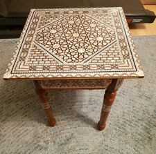 """Squared 16"""" Moroccan Hand Made Mother of Pearl Mosaic Inlay Wood Coffee table"""