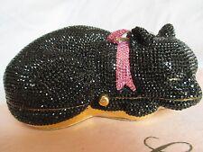 JUDITH LEIBER SLEEPING BLACK CAT SWAROVSKI CRYSTAL MINAUDIERE CLUTCH EVENING BAG