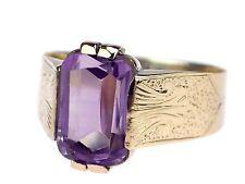 Jugendstil 585 Rose Gold 4,0 ct fabelhafter Amethyst Herren Damen Siegel Ring