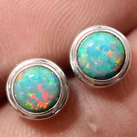 Fire Opal Stud Round Shape 925 Sterling Silver Earrings Jewelry DGE5076_G