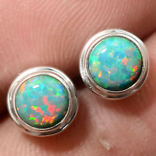 Fire Opal Stud 925 Sterling Silver Earrings with Jewelry Gift Box DGE5076_G