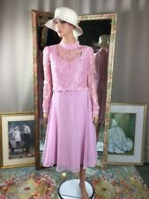 VTG 1970S Pink Lace Dress Mother Of The Bride Bridesmaid Classic Design Sz10/12