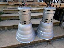 2 Lampes Industrielles MAZDA 1950 Suspension Fonte Aluminium Atelier Usine