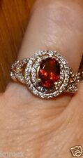 1.50 TCW RARE  FACETED OVAL MASASI BORDEAUX GARNET & WHITE  TOPAZ RING SIZE 7
