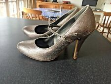 Women's Antique Silver High Heeled Shoes, Size 5, Good Condition - WORN TWICE