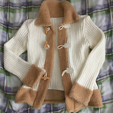 Korean Handmade Boutique Sweater Knit Jacket Outerwear Button Ivory size S-M