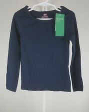 H&M Basic Size 4-6Y navy blue organic cotton Long Sleeve Top