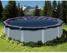 Swimming Pool Winter Cover 34 Ft Round Blue Solid Above Ground Heavy Duty Cable