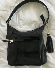 3cfddb906a0 TIFFANY & FRED Black Leather & Patent Shoulder Bag Purse Handbag-NEW
