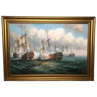 Fine Art Marine Oil Painting Ships Sea Battle of Trafalgar Listed James Hardy
