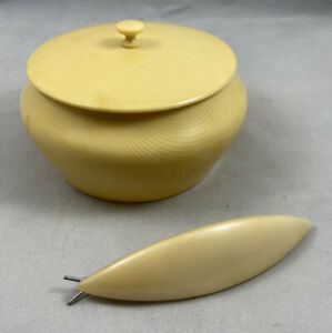 Vintage Bakelite Hairclip And Ivory Parlin Covered Dish