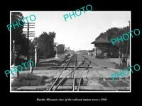 OLD LARGE HISTORIC PHOTO OF HARDIN MISSOURI, THE RAILROAD DEPOT TOWER c1940