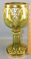 """ANTIQUE BOHEMIAN VASE GREEN GILDED ART GLASS COMPOTE 12""""High"""