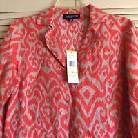 NWT Jones New York Womans M All Linen Pullover Blouse Red Orange Print