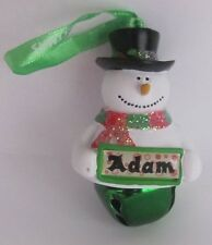 25316 ADAM NAME FROSTY SNOWMAN COLOUR BELL CHRISTMAS TREE DECORATION GIFT