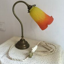 Ancienne Lampe en Laiton Avec Tulipe Muller Frères Lunéville