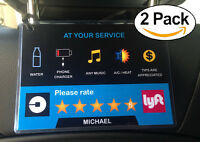 Uber Lyft 5 Star Ratings Sign Car Display Cards - Custom Messages & Name