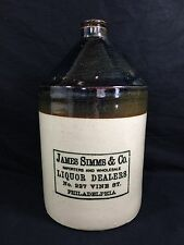 James Simms Liquor Stoneware Whiskey Jug Philadelphia PA Antique Pottery
