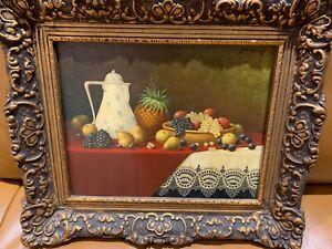 "Signed Franz Nowak listed artist, oil painting on wood panel ""still life"" LOVELY"