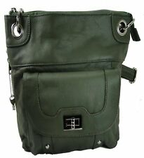 Concealed Carry Gun Purse Twist Lock Pocket Crossbody Bag by Roma Leathers Olive