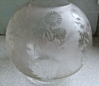 """Antique Etched Glass Oil Lamp floral Shade / Globe  ~ 7 x 6 1/2 """" ~ 4"""" fitter"""