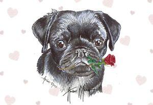 Single Large Luxury Black Pug Birthday Greeting Card Dog RR