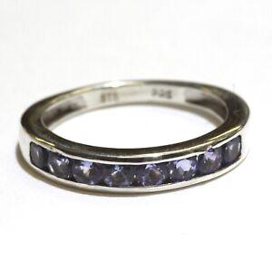925 Sterling Silver tanzanite gemstone wedding band ring 1.9g size 5 1/4 ladies