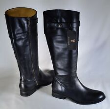 509a30a1c1f FRYE 8B Extended Calf  Molly  Button Tall Riding Boot Black Leather Side Zip  NWT