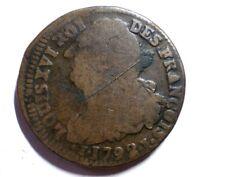 RARE MONNAIE ROYALE 2 SOLS AU FAISCEAU  LOUIS XVI 1792 I  PLRy/23