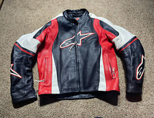 Alpinestars Armour Padded Leather Motorcycle Race Red Black Jacket US 48 EURO 58