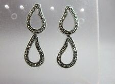 dangle drop earrings Sterling silver and marcasite