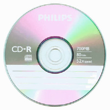 10 Pcs Philips Logo 52X Blank CD-R CDR Blank Disc Media 700MB with Paper Sleeves