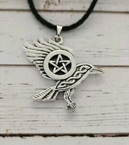 Raven pentagram necklace pagan heathens vikings witch wiccan spirit occult alt
