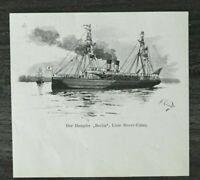 HO4) Kunst Druck 1885-1900 Dampfer BERLIN Linie Dover Calais Schiff Ärmelkanal +