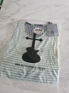 Mens Elvis Jesus Green Khaki Stripe Vest Top Size Large new