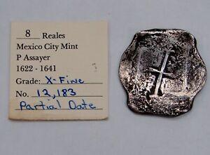 Mexico - 1622-1641 Silver 8 Reales Cob Concepcion Shipwreck Coin w/ Cert. (XF)