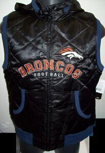 Ladies DENVER BRONCOS Vest NFL APPAREL BLACK Womens Polyfilled XS S M L XL 2X 3X