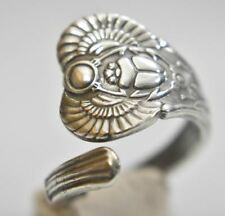 Scarab spoon ring Wings Beetle amulet Egyptian sterling silver Size 8.2
