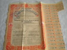 Vintage share certificate Stock Bonds actions Sao-Paulo Rio Grande railway 1911