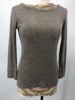 Vince Women's Wool Sweater Brown Lightweight Long Sleeve Size Small