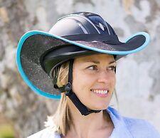 """HELMET BRIM SHADE  FOR HORSE RIDING """"NEW """" BLACK WITH LIGHT BLUE TRIM"""