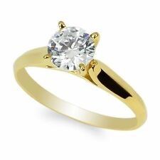 Womens 10K Yellow Gold Solid Solitaire Ring Round 1.0Ct Cz Center Clear