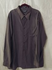 MEN'S BRANDINI SIZE XXL POLY BLEND BROWN DRESS SHIRT MICRO FIBER