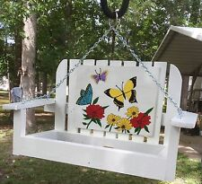 Bird Feeder White hand crafted swing with hand painted butterflies and flowers