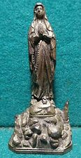 OUR LADY OF LOURDES, BASILICA, HOLY GROTTO Old 98mm METAL FIGURE STATUE