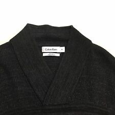 Men's Chunky Knit Sweater CALVIN KLEIN Body Fit Grey Shawl Collar, Size Medium