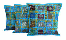"SET OF 3 INDIAN HANDMADE ZARI WORK 16X16"" COTTON CUSHION COVER ETHNIC ART"