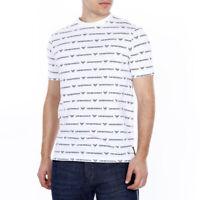 EMPORIO ARMANI - T Shirt Casual Slim Uomo Mezza Manica Bianca Di Cotone Stampata