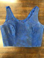 Bermans Womens Size S Small Leather Lace Blue Side Zipper Biker Tank Top Crop